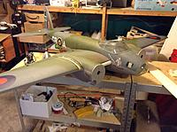 Name: mosquito.jpg Views: 37 Size: 283.5 KB Description: Fiberglassed wing junction. Cut some scale windows out of lexan which are gluing.