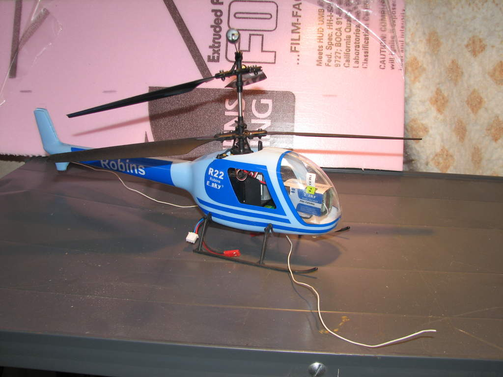 My old Robbins coaxial heli thats been thru alot but still flys well.