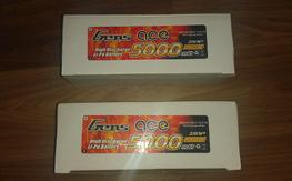 2x Gens Ace 5000mAh 2S 50C LiPo batteries