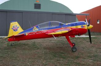 A full-scale Yak-54 in the Group Tranchant color scheme