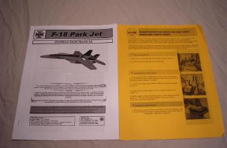 The Yardbird RC F-18 manual and supplemental instruction sheet.
