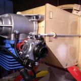 The Fuji 43 motor installed and throttle linkage attached