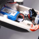 E-flite 2s 180 mah (20C) pack in the aft position on the battery tray.