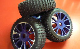 New set of 4 uh oh zombie wheels tires 1/8th buggy