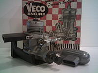 NIB Veco 19 with motor mount and has never been run. Good collectors engine as well.
