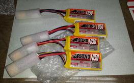 4 x New 40C 3S Rhino 1050 Lipos