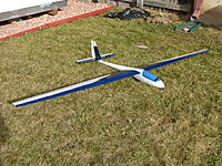 """Name: P1010729.JPG Views: 21 Size: 165.0 KB Description: Schweitzer sailplane.  96"""" wing. Composite or plastic fuselage.  2 channel, but the setup is such that it could easily be converted to wingerons (tilt wings to act as ailerons)  Plug in wings.  Asking $75."""