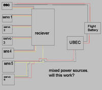 mixed power sources with esc and ubec w/ proposed wiring ... wiring a three wire switch to a ceiling fan