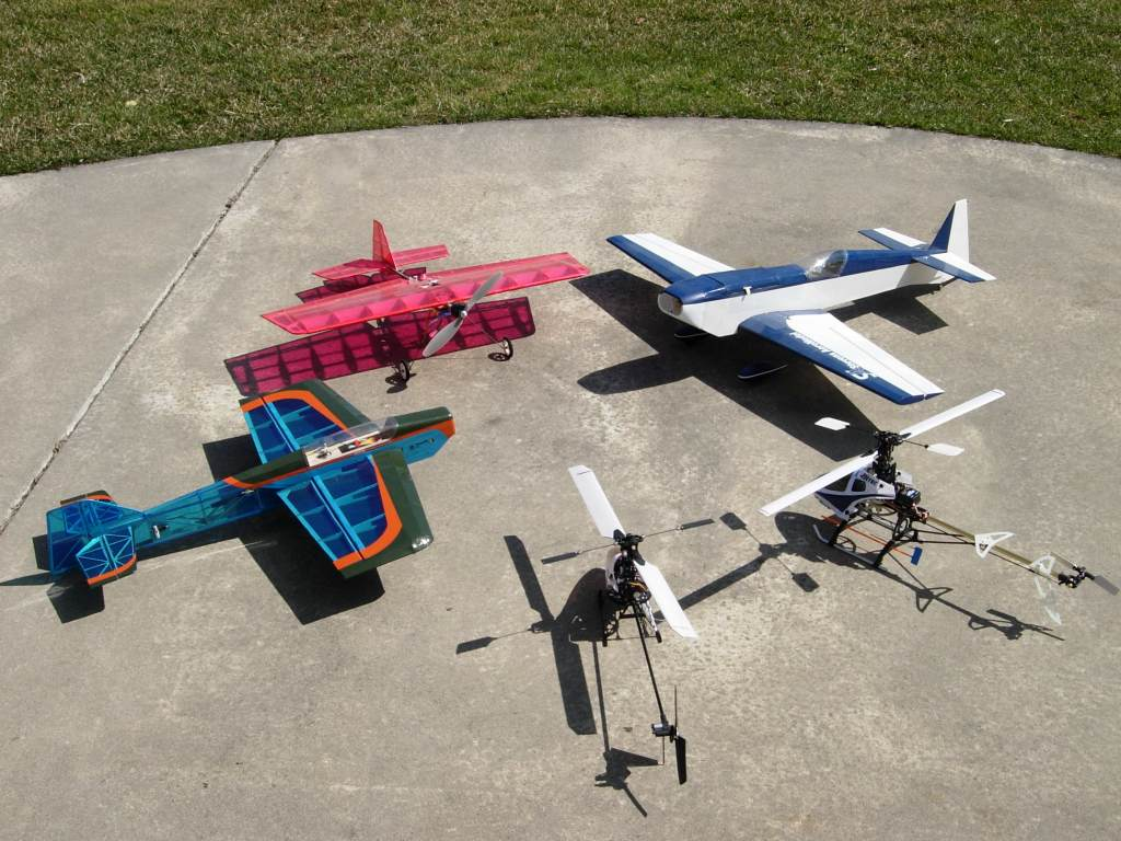 Clockwise from left: Stevensaero Dystraction, Toddsmodels Tiny-X, Stevensaero G-Ride, Esky HB King, Esky HB CP2