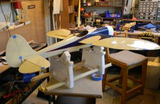 Just a little more blue trim on the tail, paint up the pilot, and it will be ready for finishing touches.