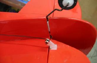 Wheel collars secured the rudder and elevator pushrods.