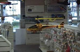 Blade hovering in hobby shop.