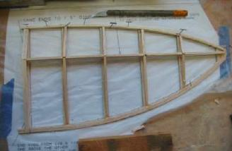 Wing Outer Panels - Construction of the outer wing panels is generally similar. The laminated trailing edge is easy to do and strong. At this stage things look a little crude, but lots of sanding will take care of that. There are no dihedral braces. Prop