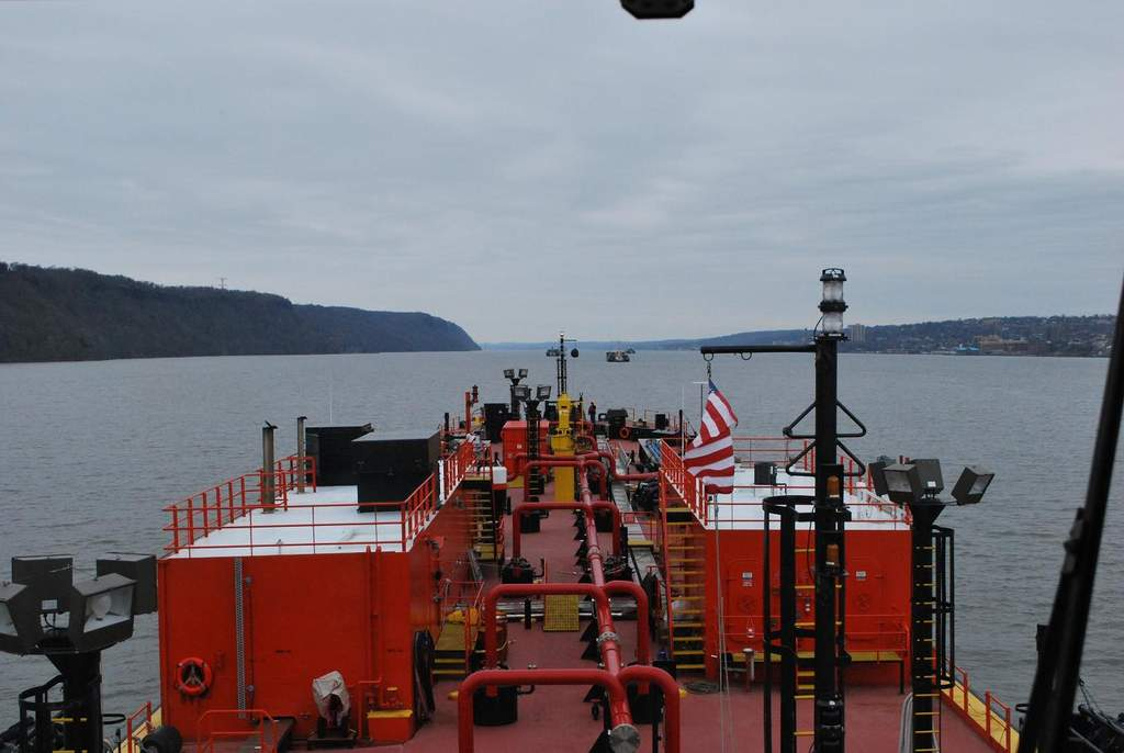 Here we are heaving the anchor at Yonkers Anchorage in the lower Hudson River. You can see my deckhand on the bow relaying to me the anchors' status via VHF radio.
