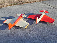 Name: DSCN0768.JPG Views: 5 Size: 459.6 KB Description: Delta Duck 1 on left. Rapid climb with horizontal thrust and one degree canard. Duck 2 had -5 degree down thrust, 1/2 degree canard and larger wing and rudder.