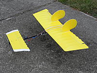 Name: DSCN1766.JPG Views: 3 Size: 718.2 KB Description: Slow Stick Canard. Thirty percent canard area with 3 degrees incidence and high drag flies level at full throttle. Three cell 1800 battery under canard. Resultant overall drag may cause nose down penetration.