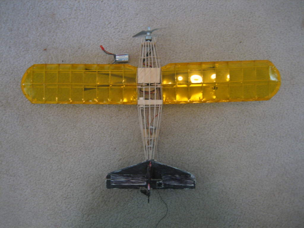 This is the Guillow's Fairchild 24 kit I made converted to RC. It was a failure, and I wrecked it, salvaging only the wing and electronics.