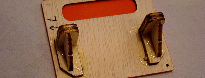 <b>Servo tray marked for left aileron (L) and orientation.</b>