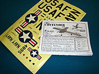 Detailed Instruction Manual and colorful decal sheet with Navy and USAF markings