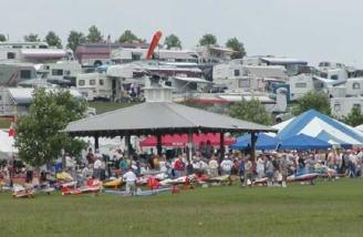 Looking across the runway, toward the gazebo -- notice all the RV parking in the background!