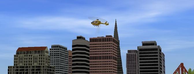 Here's a shot of me flying about a half a mile away from myself, with the buildings as a backdrop.  Once I got far enough so that the chopper was just a speck, the software zoomed in to bring back some resolution to the scene.