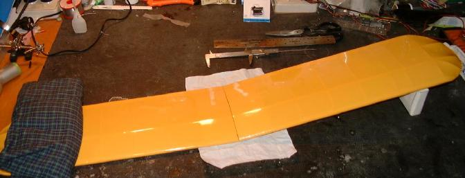 Wing construction simply consisted of joining the wing panels, and setting the dihedral at 3-3/4