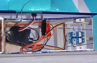Rudder and elevator servos along with receiver