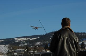 The author flying the C-170 - or observing a flyby. Take your pick.