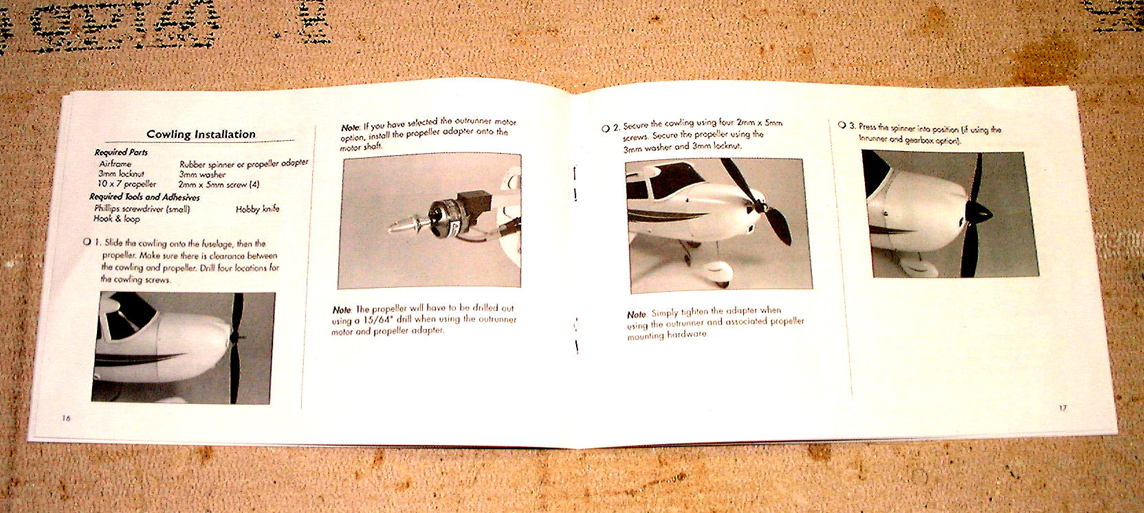 Very clear, step by step photo detailed instructions. This particular page shows different engine options and mounting instructions. The instructions left nothing to the imagination...or error.