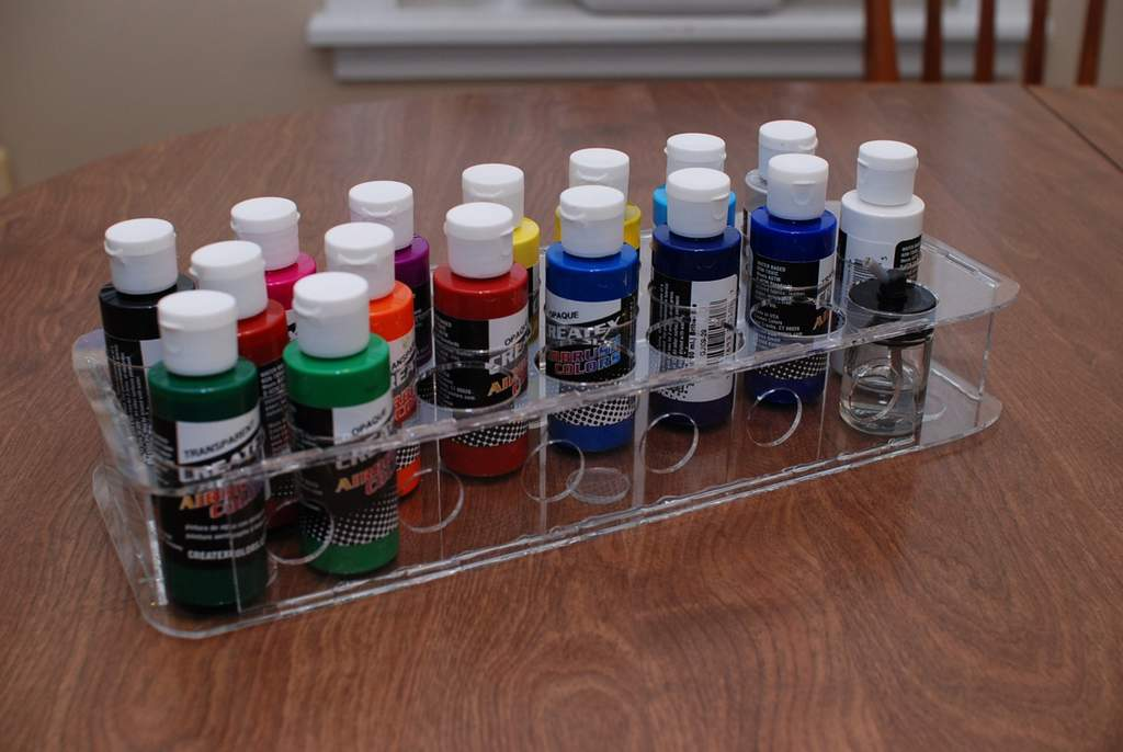 My laser-cut acrylic, paint holder. There's always room for more paint.