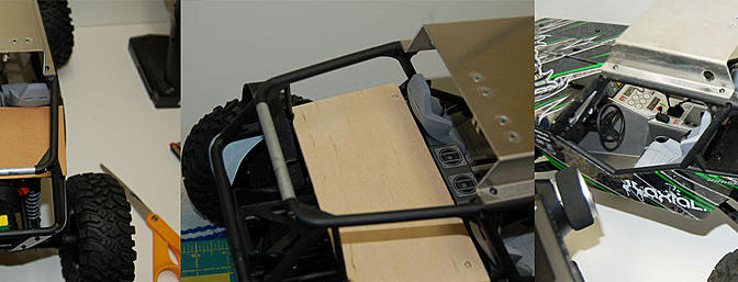 Image one is the cardboard template. Image two is my cut wood piece and image three is the piece covered in velcro and painted with a black sharpie.