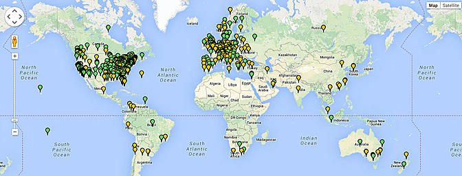 This map gives a glimpse where the users of RCGroups.com live.