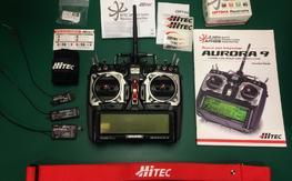 Hitec Aurora 9, 3 Hitec receivers, case, like new!