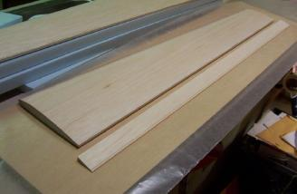 The trailing edge, with basswood stiffener attached...
