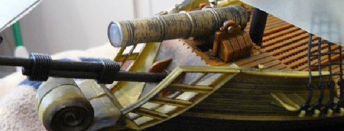"""Aargh!  This here be the functional """"six-pounder"""" cannon which fires light and sound via the transmitter."""