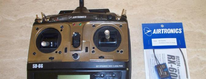 The Airtronics SD-6G is shown with the full-range RX600 receiver sent to me for this review.