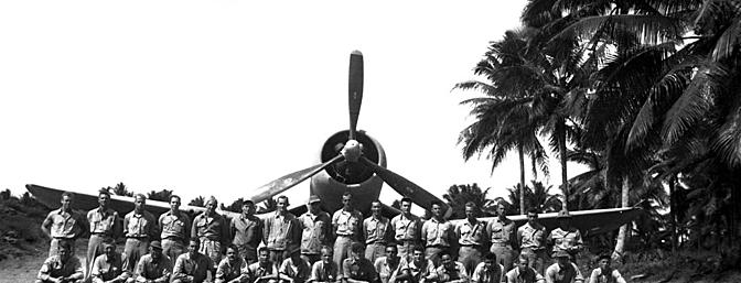 The members of VMF-214 pose in front of an F4U on the Turtle Bay fighter strip, Espiritu Santo, New Hebrides ca. September 1943.  (Photo:  Wikimedia Commons)