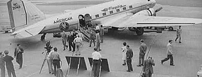 Passengers prepare to board an American Airlines DC-3.  Photo:  Wikimedia Commons