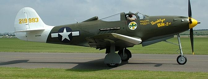 One of only two remaining flyable Airacobras in North America is Steve Hinton's <i>Brooklyn Bum - 2nd</i>.  RocHobby's prototypes were patterned after this aircraft as evidenced by the YouTube video below.  (Photo:  Wikimedia Commons)