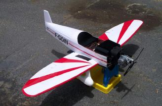 Here's the Magnum and the Cap-10B ready for the very first start-up.  The engine had so much power that it almost sent the stand through the bottom of the plane!
