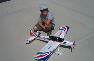 John Williamson poses with his Switch immediately after the test flight.