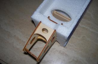 The laser-cut motor mount is shown here test-fitted to the firewall.