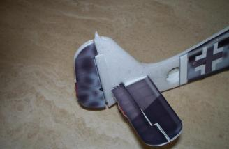 The rudder and stab of model number two are shown in place.  Note the foam strip helping to retain the rudder.