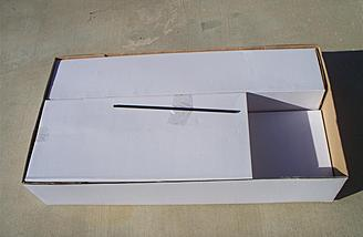 Like all Dynam models, the individual components are individually boxed and bagged.  This is what a new owner will see upon removing the box lid.  The empty space at right would be filled with the box containing the transmitter on RTF versions of the P-47D.