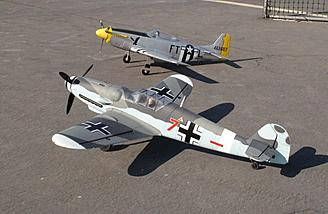 Here's the P-51D with Dynam's Messerschmitt Bf-109.  It's slightly smaller than the Bf-109, but still looks great parked next to it.