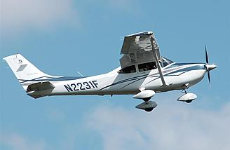 A full-scale 182 Skylane is shown in its element.  Photo:  Wikimedia Commons