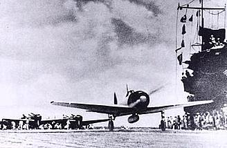Lt. Shindo and AI-102 take off from the <i>Akagi</i> on December 7, 1941.  Photo:  Wikimedia Commons