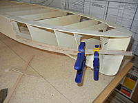 """Name: DSCN3528.jpg Views: 39 Size: 862.7 KB Description: I mixed ply and balsa to """"skin"""" the hull  BEFORE adding mahogany planking.  Here I've created a """"new"""" sheer to more closely resemble the Chris Craft design"""