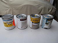 """Name: PPG Paints.jpg Views: 73 Size: 171.8 KB Description: Different PPG paints. Left to right, Delstar single stage, Deltron 2 stage (this is the high end stuff and rather expensive), next are the two cans of Omni which is the PPG """"house"""" brand and less expensive."""