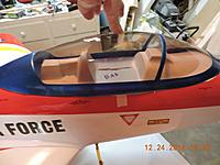 Name: Cockpit Install photo 6.jpg Views: 8 Size: 280.7 KB Description: Glue canopy to tub (be sure to protect the fuse from glue). Once glue is dry, carefully remove the masking tape. Do not put glue where the masking tape covers the tub